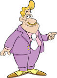 Cartoon man in a suit pointing. Stock Photo