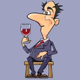 Cartoon man in a suit and tie wine tasting Stock Photo