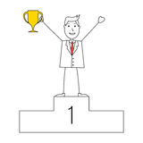 Cartoon man in suit with a trophy at first position Royalty Free Stock Photo