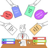 Cartoon man in suit under work stress and pressurized by others Stock Images