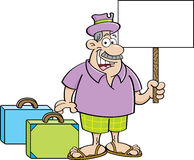 Cartoon man with suitcases holding a sign. Royalty Free Stock Photos