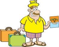 Cartoon man with suitcases. Stock Photos