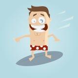 Cartoon man on a surfboard Stock Image