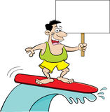 Cartoon man surfing and holding a sign. Royalty Free Stock Photography