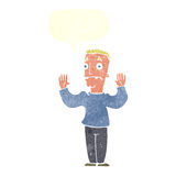 Cartoon man surrendering with speech bubble Royalty Free Stock Images