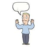 Cartoon man surrendering with speech bubble Stock Photo
