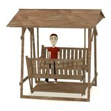 cartoon man on swing Royalty Free Stock Image