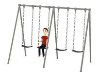 Cartoon man in swing Royalty Free Stock Photo