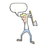 cartoon man swinging axe with speech bubble Royalty Free Stock Photos