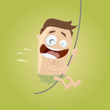 Cartoon man swinging with a liana Royalty Free Stock Photo