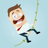Cartoon man swinging on liana. Funny illustration of a cartoon man swinging on liana stock illustration