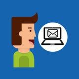 Cartoon man tablet email technology message Stock Photos