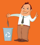 Cartoon man taking out the trash Stock Images
