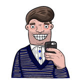 Cartoon man taking self portrait with his mobile phone royalty free stock photo