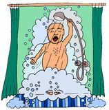 Cartoon man taking a shower Royalty Free Stock Images