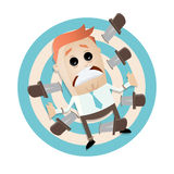 Cartoon man on target with knives. Illustration of a cartoon man on target with knives Royalty Free Stock Images