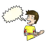 Cartoon man with tattoos with speech bubble Royalty Free Stock Photography