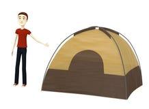 Cartoon man with tent Stock Photo