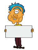 Cartoon man with a text board Royalty Free Stock Photos