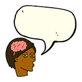 cartoon man thinking carefully with speech bubble Royalty Free Stock Images