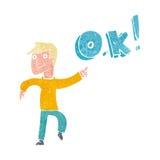 Cartoon man thinking OK Stock Photography