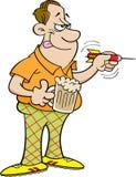 Cartoon man throwing a dart Stock Images