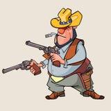 Cartoon man is a thug with guns Stock Photos