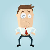Cartoon man with tight belt Royalty Free Stock Images