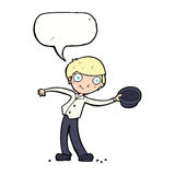 Cartoon man tipping hat with speech bubble Royalty Free Stock Photo
