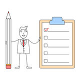 Cartoon man with to do list clipboard Royalty Free Stock Photos