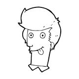 Cartoon man with tongue hanging out Royalty Free Stock Images