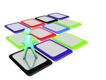 Cartoon man on top of colorful Tablet PCs Royalty Free Stock Photo