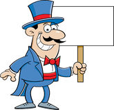 Cartoon Man in Top Hat Holding a Sign Royalty Free Stock Photography