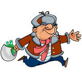 Cartoon man toper in winter clothes running with bottles Royalty Free Stock Images