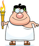 Cartoon Man with Torch. A cartoon illustration of a Greek man holding the Olympic torch Royalty Free Illustration