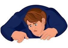 Cartoon man torso in blue looking down Stock Photo