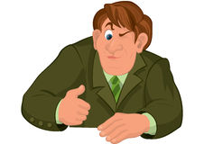 Cartoon man torso in green jacket with one eye closed Royalty Free Stock Images