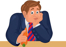 Cartoon man torso in striper tie with carrot Royalty Free Stock Photo