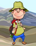 Cartoon man tourist with a backpack in the mountains. Cartoon funny smiling man tourist with a backpack in the mountains stock illustration