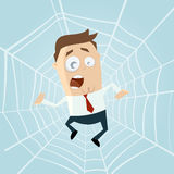 Cartoon man trapped in spiderweb Stock Photos