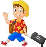Cartoon man with traveling bag Stock Photography