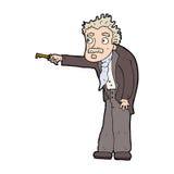 Cartoon man trembling with key unlocking. Hand drawn cartoon illustration in retro style.  Vector available Royalty Free Stock Image