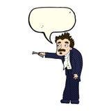 Cartoon man trembling with key unlocking with speech bubble Stock Photos