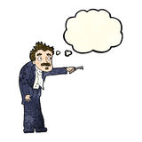 Cartoon man trembling with key unlocking with thought bubble Royalty Free Stock Images
