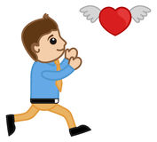 A Cartoon Man Trying to Catch a Flying Heart Stock Image