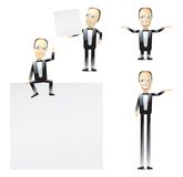 Cartoon man in tuxedo. A humorous cartoon man wearing a tuxedo in several different poses and gestures Royalty Free Stock Image