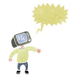 cartoon man with TV head Stock Images