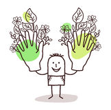 Cartoon man with two big green hands royalty free stock images