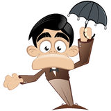 Cartoon man with umbrella Royalty Free Stock Photo