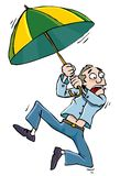 Cartoon man with an umbrellabeing whisked away stock illustration